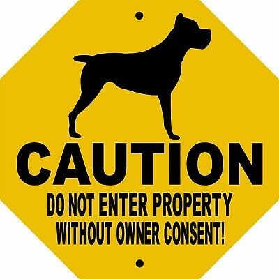 "CANE CORSO DOG SIGN,NO TRESPASSING,9"" x 9"" OCTAGON ALUMINUM,Guard Dog,CDNECCOCT"