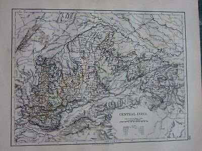 1897 Victorian Map ~ Central India Bhopal