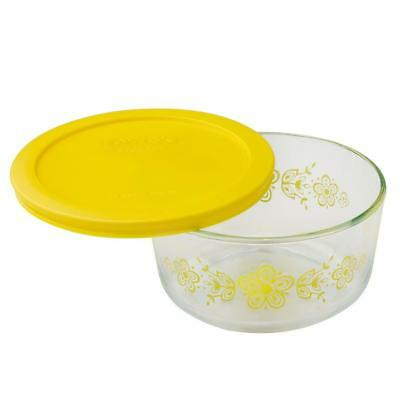 1 Pyrex BUTTERFLY YELLOW Gold 4 Cup Glass Storage Bowl & Cover *Vintage pattern