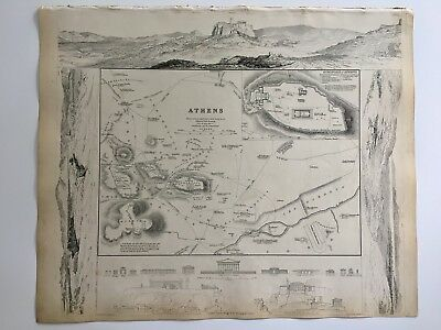 Vintage Original 1845 Topographic Map & Drawings 'Athens' Capital City of Greece