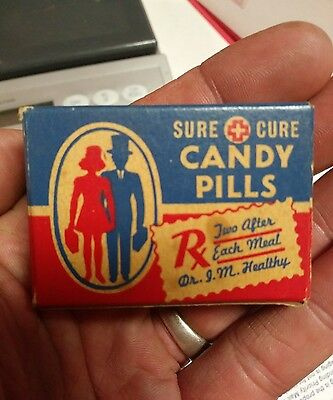 Rare 1940's Vintage Candy Pills Box *very Politically Incorrect* Must See! Dated