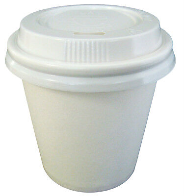 500 Sets x 4oz White 118ml Single Wall Disposable Paper Coffee Cups And Lids