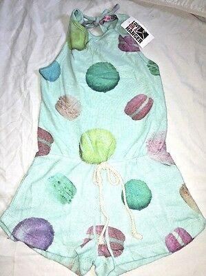 Play Six Girls Mint Green Macaroon Soft Fleece Romper Stamped Design M $52 NWT