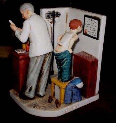 """Grossman Norman Rockwell """"AT THE DOCTORS OFFICE"""" Ceramic Figurine NR-29"""