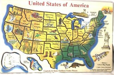 UNITED STATES AMERICA Puzzle Map Deluxe Wooden States & Capitals ...