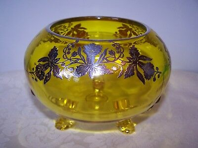 Art Deco Vaseline Yellow Glass Footed 6'' Rose Bowl With Sterling Silver Overlay