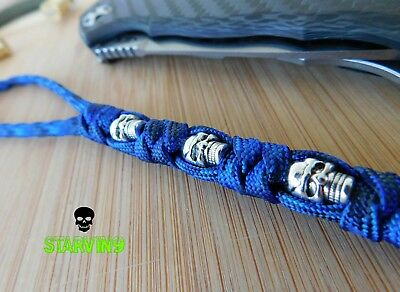 Paracord knife lanyard-3 skulls/blue camo,fits spyderco,zero tolerance,CRKT