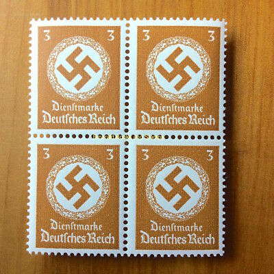 EBS Germany 1942 3 Pfennig Official Swastika Dienst BLOCK 4 Michel 166 MNH**