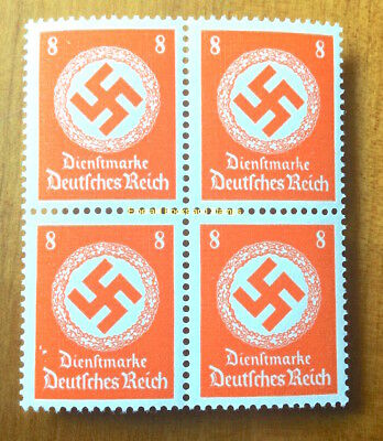 EBS Germany 1942 8 Pfennig Official Swastika Dienst BLOCK 4 Michel 170 MNH**