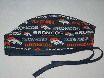 Surgical Scrub Hats/Cap NFL  Denver Broncos with silver white and orange letters