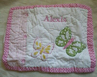 "Pottery Barn Baby Camille  Small Quilted Sham New Monogrammed ALEXIS  12"" X 16"""