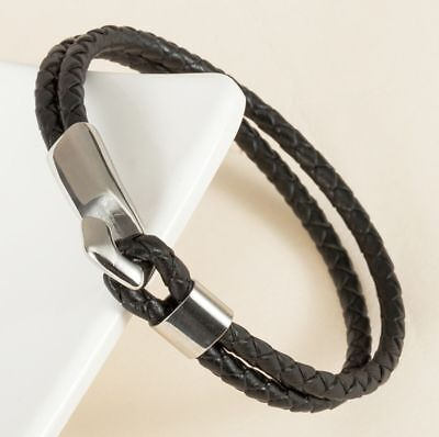 Mens Womens Braided Leather Stainless Steel Hook Bangle Bracelet + Box #BR374