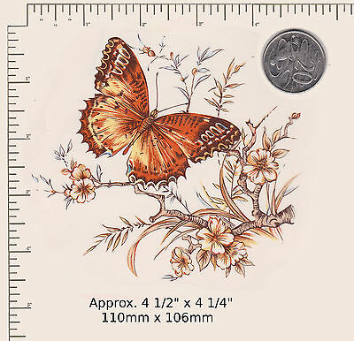 "1 x Ceramic decal Decoupage Golden Bronze Butterfly  4 1/2"" x 4 1/4"" PD 60a"