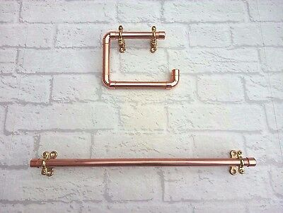 Copper Pipe Toilet Roll Holder & Towel Holder Rail (5 Sizes) - Polished Vintage