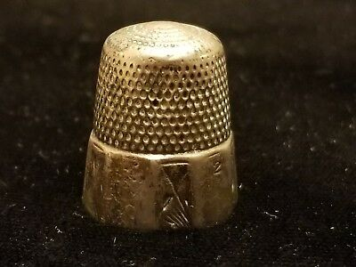 Antique Simons Brothers Sterling Silver Sewing Thimble Nice Estate Find L@@k