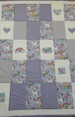 Princess and Unicorn baby girl cot quilt