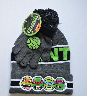 NWT Boys Teenage Mutant Ninja Turtles Gray Hat & Gloves Set ~One Size NEW