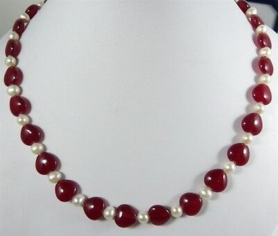 Beautiful 12x12mm Heart-shaped Red Ruby Gemstone Necklace 18'' AAA