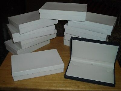 """10 new retail hinged necklace boxes blue 7x 4 1/4 x 1"""""""