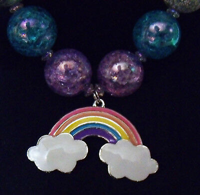 girls bubblegum bead chunky rainbow with clouds necklace.rainbow crackle beads.