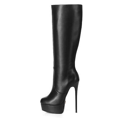 9d6bb1be307 GIARO GALANA BLACK leather look boots paltform and stiletto heel