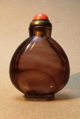 A Chinese Amethyst Glass Snuff Bottle With Coral Stopper, 20Th Century