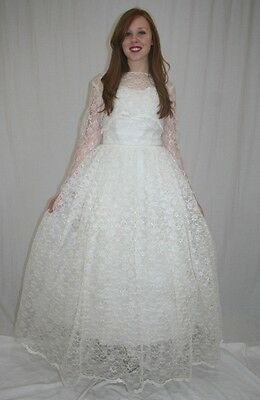 Vintage 50s Aldens White Floral LACE Full Wedding BRIDAL Dress w Caplet~15/16~M