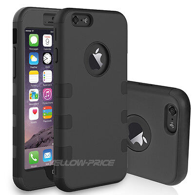 """New Protective Rubber Hard Triple Impact Armor Cover For iPhone 6 6s 4.7"""" w/Film"""