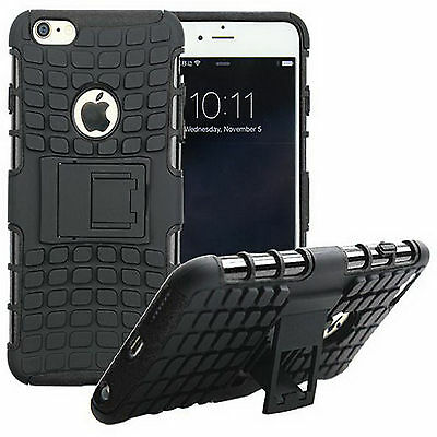 Rugged Rubber Armor Stand Case Cover For iPhone 6 6s Plus Dual Layer Protection