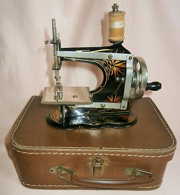 Vintage / Antique Small Child's German Casige Sewing Machine with Original Case
