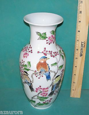 "CHINESE PORCELAIN VASE 10""  BIRDS  Excellent Condition bluebird ceramic"