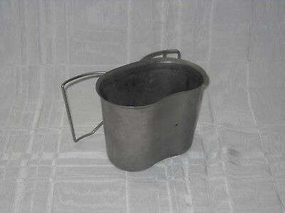 MARKED US92 PAC FAB  stainless steel double handle 1 quart canteen cup #0994