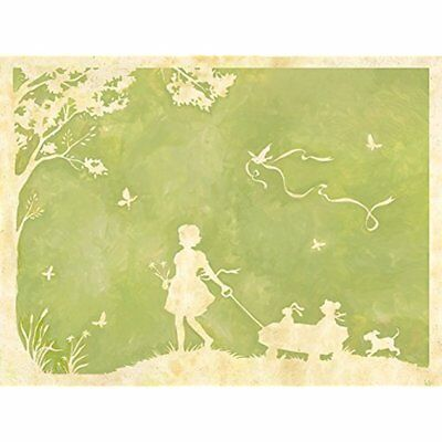 Oopsy Posters & Prints Daisy Toile Girl Pulling Wagon Stretched Canvas Wall Art