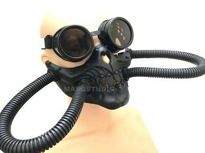 Steampunk Goggle Respirator gas mask Hose Halloween Costume Cosplay Party Prom