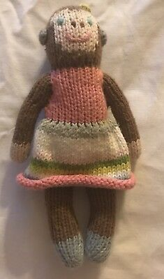 Knitted Monkey Doll Rattle Toy