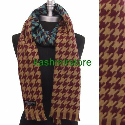 100% CASHMERE SCARF HOUNDSTOOTH DESIGN Wine/Camel/blues MADE IN SCOTLAND Soft