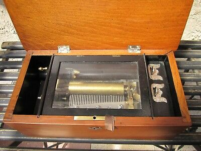 vintage wooden MUSIC BOX player musical antique
