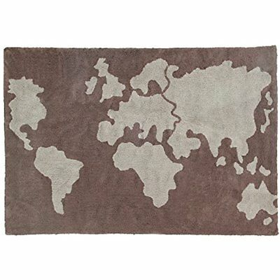Lorena Rugs Canals World Map Washable Children's Machine Washable, Perfect For