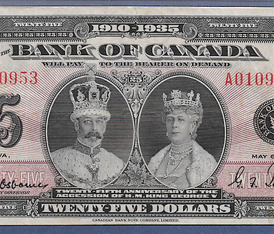 Canada 1935 $25  ♚♚ Bank Of Canada ♚♚  Pmg Vf 30