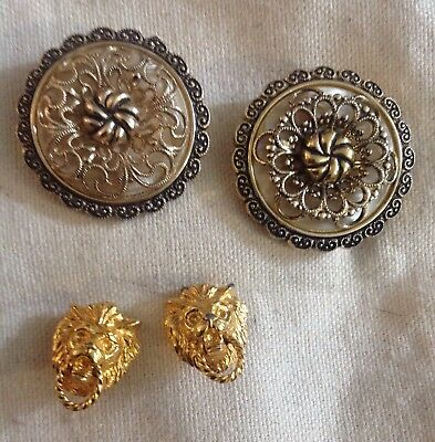 Vintage Shoe Clips 2 Pair Gold Lion Heads Small West Germany