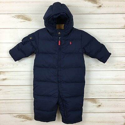 Polo Ralph Lauren Baby Boy Navy Down Filled Hooded Snowsuit Bunting. 12M.