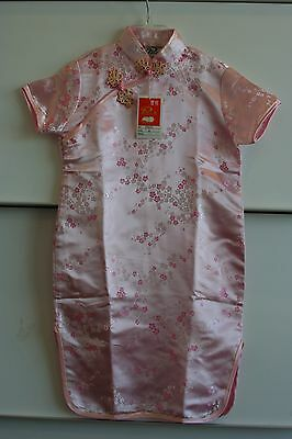 NWT Light Pink Qipao cheong-sam Girls Size 8 Pink Floral Emboidery Costume