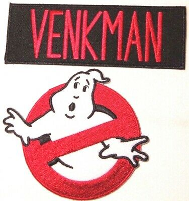 """Ghostbusters VENKMAN No Ghosts Logo Screen Accurate 4"""" Patch Set of 2"""