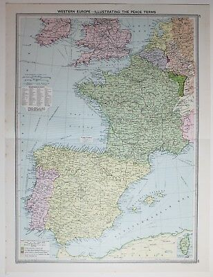 Map Of South Of France And Italy.1920 Large Map Western Europe Communications British Isles