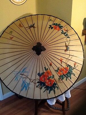 """Lovely Vintage Large Chinese Hand painted Paper Parasol-43"""" diameter  #3238"""