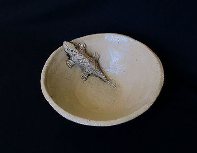 Vintage Israel Art Pottery,  Ceramic Bowl with a Lizard Climbs Out, Signed!