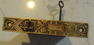Antique Rusell Erwin Eastlake  Mortise Lock Butterfly With Key