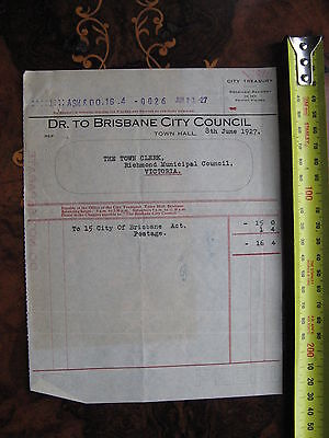 City Of Brisbane To City Of Richmond 1927 INVOICE for City Act