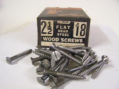"#18 x 2 1/2"" Flat Head Wood Screws Slotted Plain Steel Made in USA Qty 25"