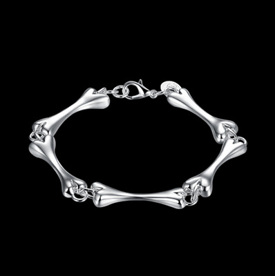 Mens Womens 925 Sterling Silver 8mm Bones Link Chain Charm Bracelet #BR391